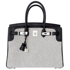 Hermes Black Swift Leather 35cm Birkin Ecru Graphite Criss Cross Toile VIP | From a collection of rare vintage top handle bags at https://www.1stdibs.com/fashion/handbags-purses-bags/top-handle-bags/