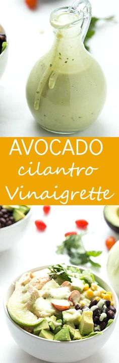Southwest Chopped Salad with Avocado Cilantro Vinaigrette - It's one of the best salads I have ever had. Each bite contains crisp romaine lettuce, black beans, corn, diced green bell peppers, avocado, chicken and few cherry tomatoes. The zesty and creamy avocado vinaigrette with cilantro make the salad oh-so-delicious!