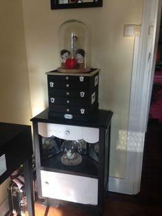 Meuble tiroir table de chevet noir et blanc brocante