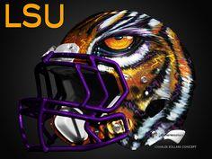 Football Helmet Design, College Football Helmets, Lsu Tigers Football, Raiders Football, Football Gear, Lsu Helmet, Cowboys Helmet, Lsu College, Custom Football