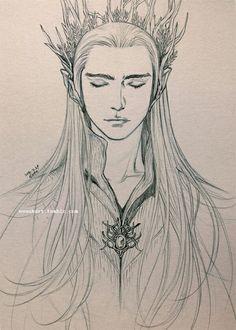 drawing Thranduil The Hobbit Elf Drawings, Cool Drawings, Drawing Sketches, Hobbit Art, O Hobbit, Closed Eye Drawing, Drawing Eyes, Character Drawing, Character Design