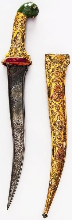 Indian dagger, 19th century, iron, enamel, velvet, H. with sheath 18 3/8 in. (46.7 cm); H. without sheath 18 1/4 in. (46.4 cm); H. of blade 13 in. (33 cm); W. 5/16 in. (0.8 cm); D. 1 3/16 in. (3 cm); Wt. 15.2 oz. (430.9 g); Wt. of sheath 9.9 oz. (280.7 g), Met Museum.