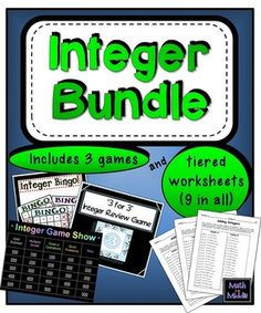 Review operations with integers with this fun bundle!  Includes 3 games, tiered worksheets, and a notes page.  $5
