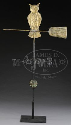 AMERICAN COPPER OWL ON BROOM WEATHERVANE WITH DIRECTIONALS.