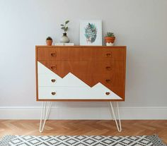 Items similar to SOLD SOLD - Mid Century Chest of Drawers, Upcycled & Painted with White Triangle Design and Hairpin Legs. Scandi Danish Style on Etsy - geometric dresser - Vintage Industrial Furniture, Refurbished Furniture, Farmhouse Furniture, Cheap Furniture, Rustic Furniture, Furniture Makeover, Living Room Furniture, Painted Furniture, Furniture Design