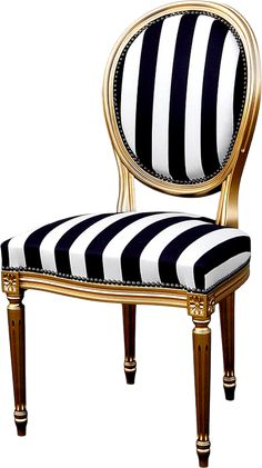Striped chair PNG and Clipart Victorian Style Furniture, Victorian Sofa, Classic Furniture, Chair Makeover, Furniture Makeover, Striped Chair, Black Dining Room Chairs, Upholstered Chairs, Elle Decor