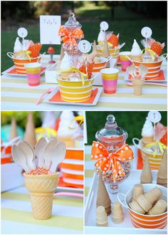 Party{colors, buckets, ice cream cone spoon holder, jar of spinkles N bow} Shower Bebe, Baby Shower, Party Treats, Party Gifts, Blue Bunny Ice Cream, Ice Cream Social, Ice Cream Party, Party Entertainment, Childrens Party