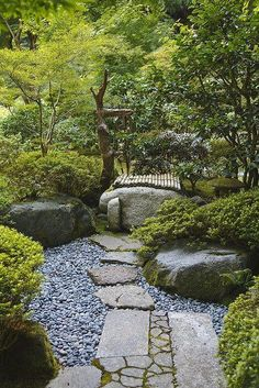 A careful balance between the natural and the engineered characterizes Japanese gardens. This path exemplifies that balance. Note the mix of squared stones and rough stones, patterns and no patterns, alternate textures--it's all very careful and deliberate. #japanesegardens #japanesegardendesignboulders Japanese Garden Landscape, Small Japanese Garden, Japanese Garden Design, Japanese Gardens, Zen Gardens, Modern Gardens, Japanese Garden Backyard, Zen Rock Garden, Big Garden