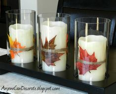 Fun Fall Candles- 20 Great DIY Fall Home Decor Projects that You Must Try This designs room design decorating Thanksgiving Crafts, Thanksgiving Decorations, Fall Crafts, Holiday Crafts, Holiday Fun, Diy Crafts, Thanksgiving Table, Holiday Decor, Rustic Candles