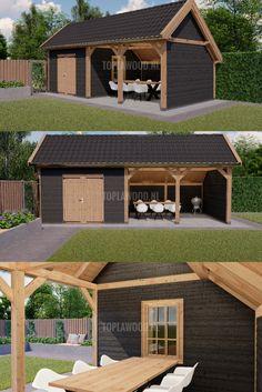 Backyard Studio, Backyard Patio Designs, Backyard Retreat, Open Shed, Garden Log Cabins, Farmhouse Sheds, Backyard Covered Patios, Workshop Shed, Carport Designs