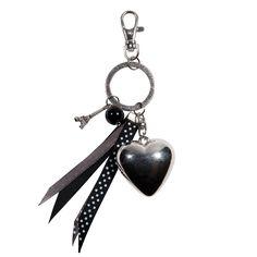 Porte clefs coeur pois