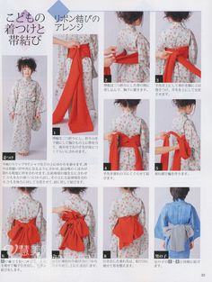 How to tie child yukata obi Traditional Kimono, Traditional Fashion, Traditional Dresses, Kimono Japan, Yukata Kimono, Wedding Kimono, Japanese Costume, Japanese Outfits, Japan Fashion