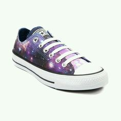 Converse All Star Lo Cosmic Sneaker. Wish upon a star or two and get in on this trendy cosmic awesomeness! Its the exclusive low top Converse All Star Cosmic, featuring a galaxy print canvas upper and classic All Star rubber outsole. Galaxy Converse, Converse All Star, Style Converse, Cool Converse, Galaxy Shoes, All Star Shoes, Converse Sneakers, Converse Chuck Taylor All Star, Chuck Taylor Sneakers