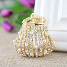 2016 New Fine Metal Key Chain Outer Pearl Inlay Exquisite Handbags Style Gold Keychain Luggage Accessories Car Ornaments #Affiliate