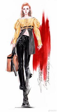 Fashion Design Sketches 142215300721111331 - Fashion illustration, sketch Source by elenafayart Fashion Design Sketchbook, Fashion Design Drawings, Fashion Sketches, Fashion Art, Fashion Models, Womens Fashion, Female Fashion, Trendy Fashion, High Fashion