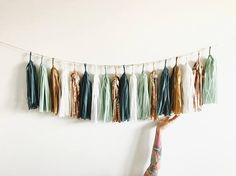 Sage Green, Rose Gold and Copper Tassel Garland - Eucalyptus Baby Shower Decorations, Teal Wedding Decor, Bridal Shower, High Chair Banner