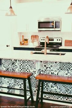 Spanish Tile Stencil Set  Painted Patterns Tile Design And Interesting Kitchen Stencil Designs Decorating Inspiration