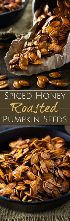Spiced Honey Roasted Pumpkin Seeds Waste not, want not. turn leftover pumpkins into a delicious treat! These roasted pumpkin seeds are deliciously savory, with hints of spice and honey! Pumpkin Recipes, Fall Recipes, Holiday Recipes, Snack Recipes, Cooking Recipes, Roasted Pumpkin Seeds, Roast Pumpkin, Pumpkin Spice, Pumkin Seeds