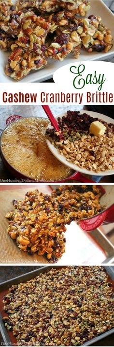 cashew Brittle, Brittle Recipes, Cranberry Recipes, Candy Recipes, Hostess Gift Ideas, How to Make Cashew Brittle