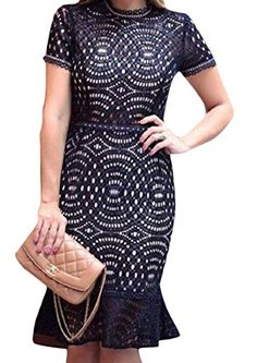 Abetteric Womens Perspective Plus Size Lace Stitch Jumpsuit Party Dress