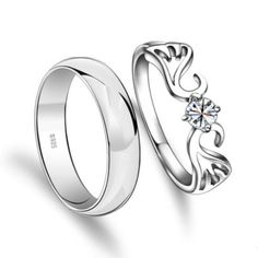 Engravable Angel Wings Mens Women Promise Rings Set - Engravable Couples Rings