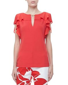 Ruffle-Sleeve Silk Top, Poppy