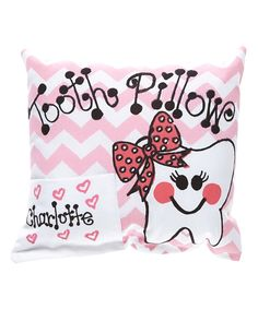 Look at this Pink Chevron Personalized Tooth Pillow on #zulily today!