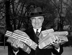 President Harry S. Truman with Christmas packages, December 25, 1945.