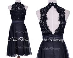 Straps High Neck Lace and Chiffon Black Short Prom Dresses, Black Homecoming Dresses, Wedding party Dresses, Evening Gown