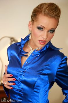 Sexy blue shiny satin blouses 8 babe,s Sexy Blouse, Blouse And Skirt, Ruffle Blouse, Blue Satin, Silk Satin, Satin Skirt, Satin Blouses, Beautiful Blouses, Sexy Women