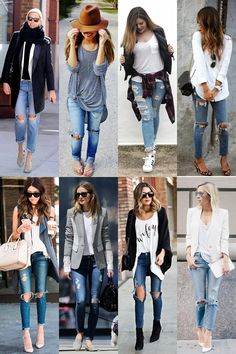 calça rasgada 7-vert Fall Outfits, Summer Outfits, Casual Outfits, Cute Outfits, Denim Fashion, Fashion Outfits, Womens Fashion, Street Fashion, Ripped Jeans Outfit