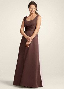This is Kimmie's bridesmaid dress.  Style F14050 from David's Bridal...color cocoa.  I like it, but most importantly she is comfortable in it.  Tori is next!