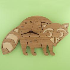 Kids Clocks Animal Raccoon Bamboo Children's Wall Clock