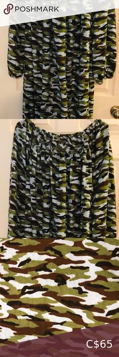 """Camouflage Cotton Flannel Gown New. Handmade. Hand smocked embroidery on front. Cotton flannel gown with pockets. Great for lounging or sleeping. Full length (50"""" long). One size fits all (84"""" wide at hip). Intimates & Sleepwear Cotton Gowns, Cotton Sleepwear, Purple Sports Bras, Underwire Sports Bras, Triangle Scarf, Lingerie Set, Camouflage, Plus Fashion, Fashion Tips"""