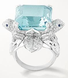 Van Cleef & Arpels Lucky legends  Grenouille ring, white gold, diamonds, sapphires and one asscher-cut tourmaline of 21.77-carats