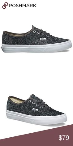 8e827b9956 VANS Authentic Glitter Skate Shoes NIB! In Gray Classic Slip On Shoes with  Glitter