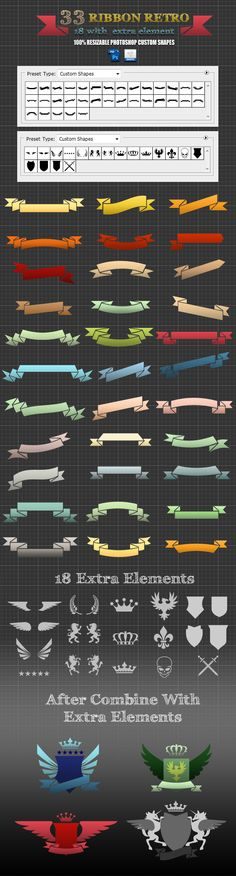 33 Ribbons Retro For Photoshop Custom Shapes - Objects Shapes