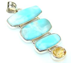 $60.25 Prestige Blue Larimar Sterling Silver Pendant at www.SilverRushStyle.com #pendant #handmade #jewelry #silver #larimar
