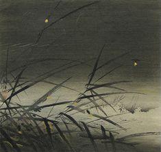 Tsukioka Kogyo (1869-1927) -   Fireflies at Night, Woodblock print (nishiki-e) hightened in gold, c. 1900