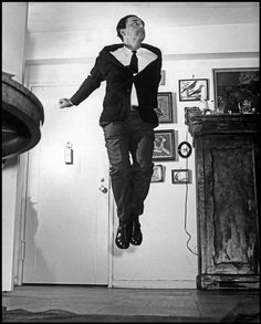 Romain Gary jumping, 1953 by Philippe Halsman Romain Gary, Philippe Halsman, Star Costume, Photographer Portfolio, Magnum Photos, Dali, In This Moment, Portrait, Fictional Characters