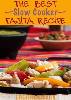 The Best Slow Cooker Fajita Recipe- healthy from scratch ingredients.