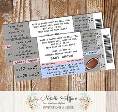 Football Boy or Girl Blue vs Pink Ticket Gender Reveal Party Invitation - Perfect tickets for football season!