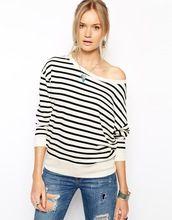 Striped Off Shoulder Sweatshirt/2014 High Quality girl Fashion Tshirt/Custom Tshirt Clothing Factory model-cp409