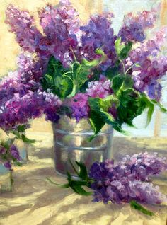 """Lilacs and Silver 11""""x14"""" oil/ linen panel SOLD"""