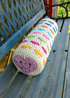 Crochet heart bolster cushion cover | Craftsy