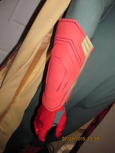 Closeup on current glove and bracer for Vision Cosplay Costume for Avengers: Age of Ultron.
