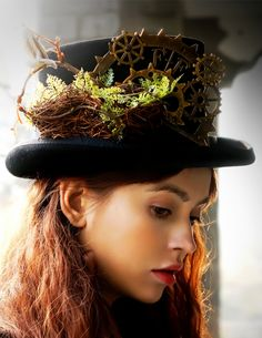 Beyond the End of Time, Steampunk Dandy Bird Nest & Gear Deco Top Hat