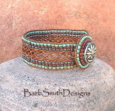 Turquoise Silver Brown Leather Beaded Wrap by BarbSmithDesigns Wrap Bracelets, Leather Bracelets, Leather Jewelry, Leather Craft, Beaded Jewelry, Beaded Necklace, Beaded Bracelets, Beading Tutorials, Loom Beading
