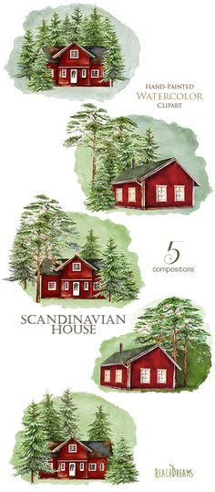 Scandinavian House Watercolor Sweden cabin Swedish wooden