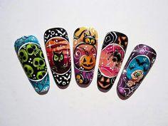 Holloween Nails, Cute Halloween Nails, Halloween Nail Designs, Fall Nail Art Designs, Cool Nail Designs, Super Cute Nails, Pretty Nails, Acrylic Nail Art, Acrylic Nail Designs